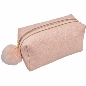 Glitter Pom Travel Makeup Bag in Snowball Pink NWT